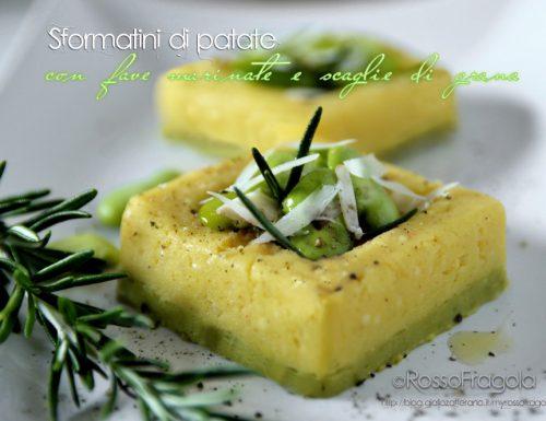 Sformatini di Patate e piselli con fave e scaglie di grana