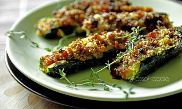 Zucchine farcite con pesce spada e speck