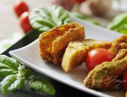 Spiedini di zucchine con crostini di pane