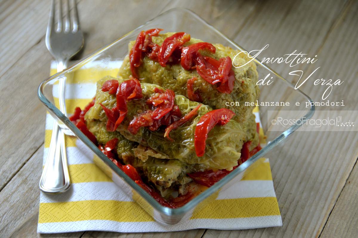 Involtini di verza con melanzane e pomodori