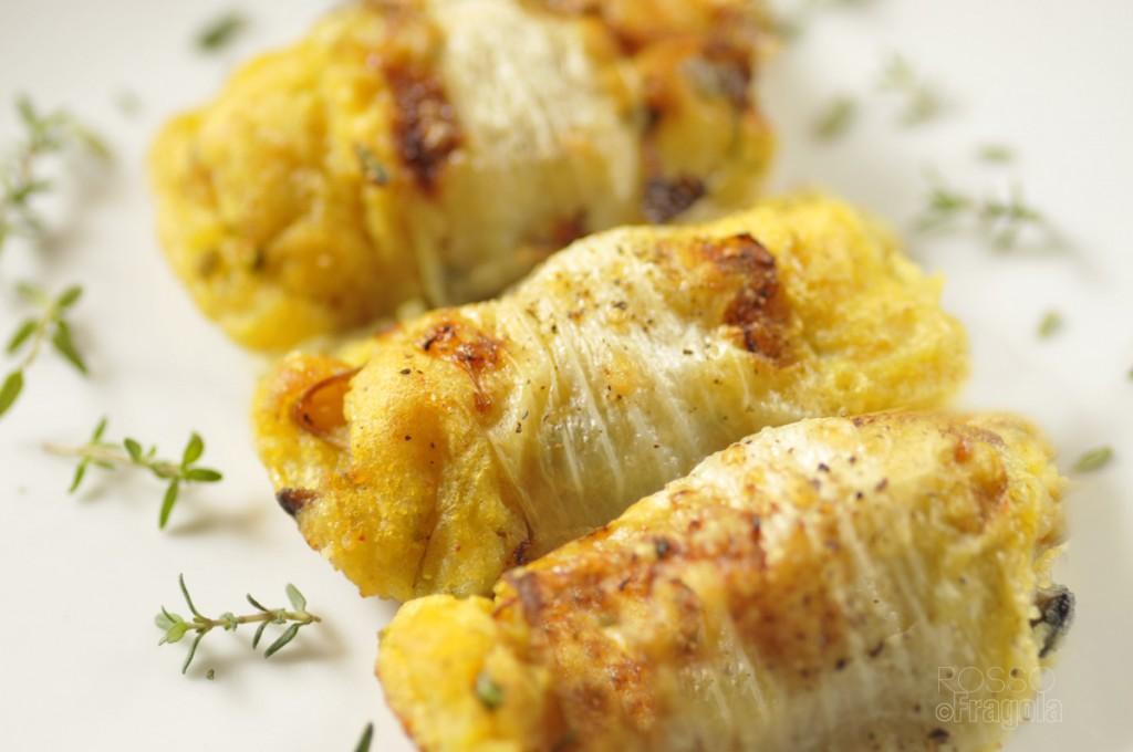 Involtini di belga con patate e funghi