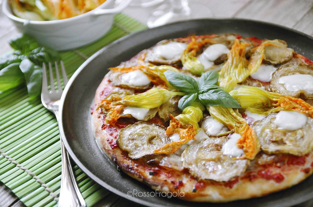 -pizza ortolana ai fiori di zucca