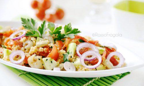 Tabulè di cous cous con verdure e gamberetti
