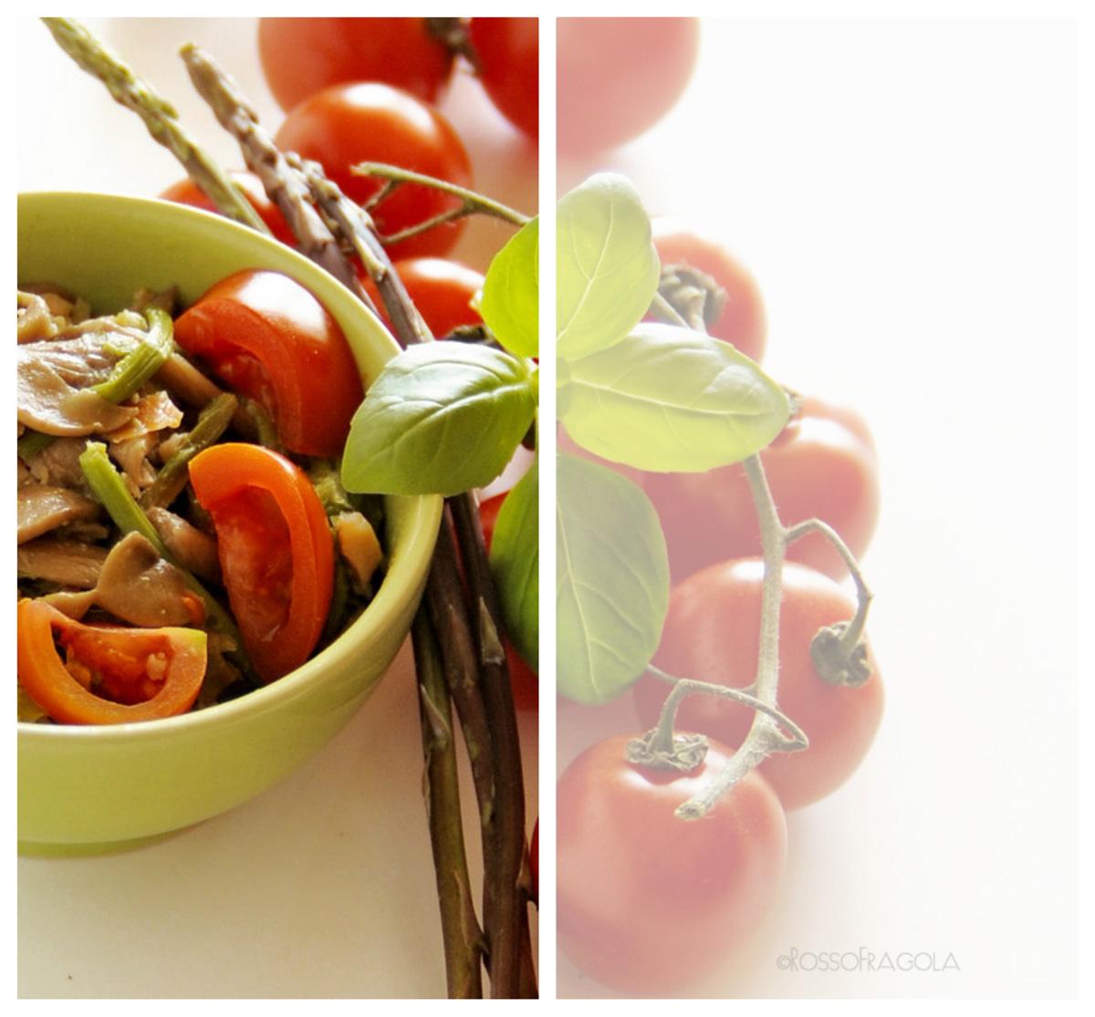 Ragù di asparagi al salmone con funghi e ciliegino--