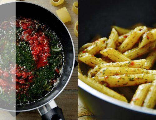Sugo al pesto di basilico e pomodori