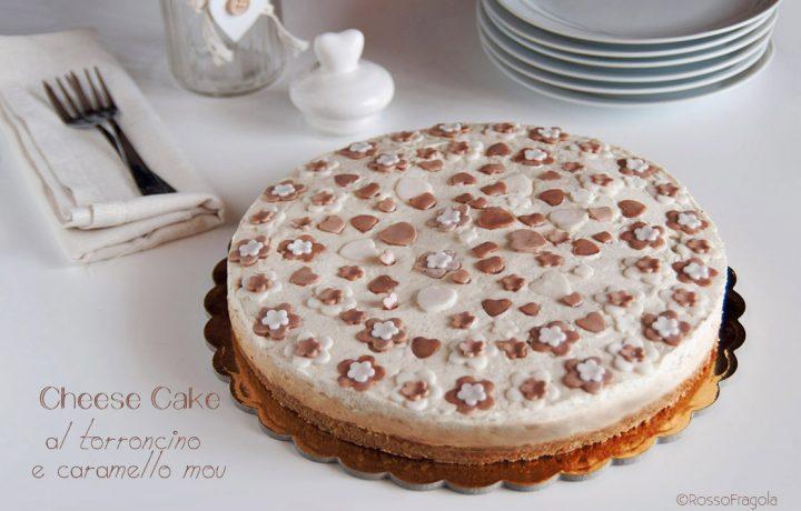 Cheese Cake al torroncino, caramello mou e amarene – senza gelatina