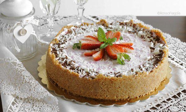 Torta cheese cake alle fragole senza gelatina e senza cottura