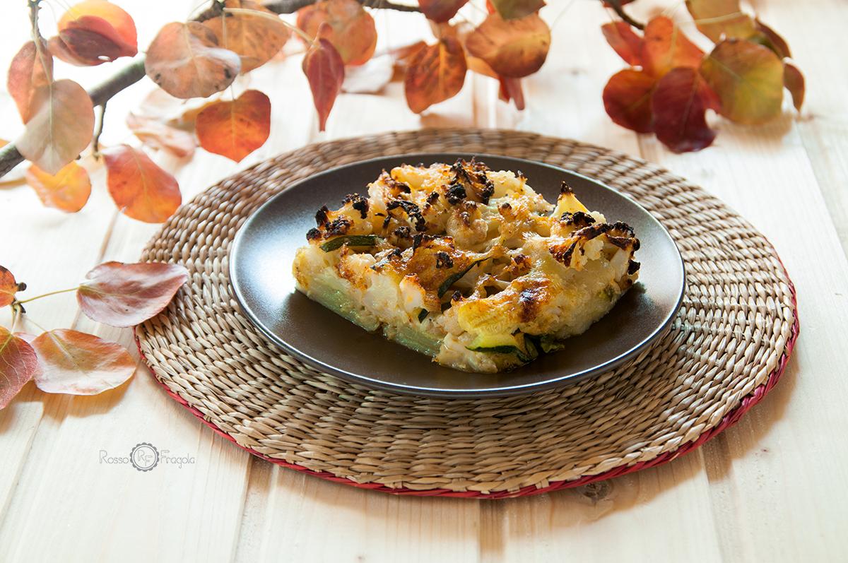 Parmigiana bianca con cavolfiore zucchine e patate
