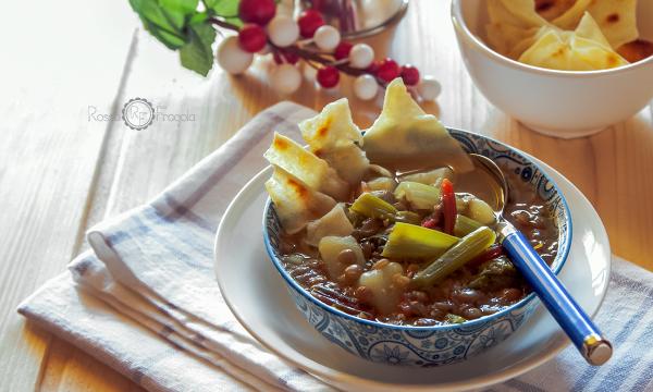 Zuppa di lenticchie e bietole