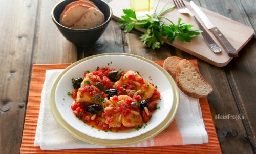 Filetti di Baccalà al  pomodoro  e olive nere