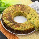 Flan di patate e piselli con tonno e provola affumicata