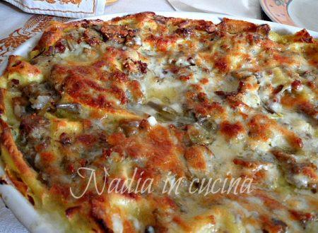lasagne con salsiccia carciofi e funghi