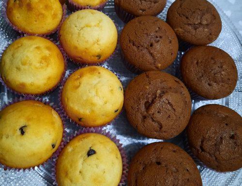 Muffin alla vaniglia e al cacao con gocce di cioccolato