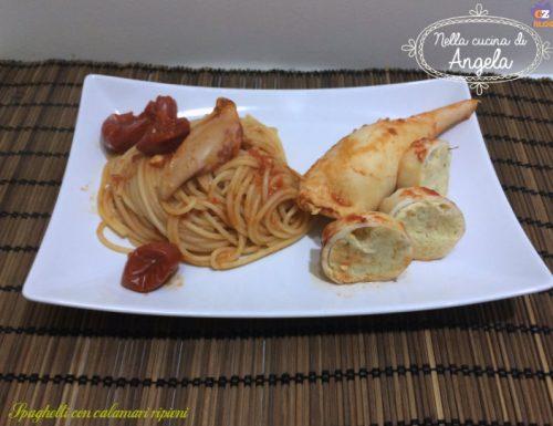 Spaghetti con calamari ripiene