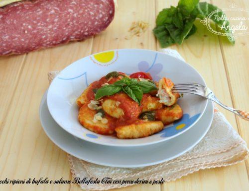 Gnocchi ripieni di bufala e salame Bellafesta Clai con pomodorini e pesto