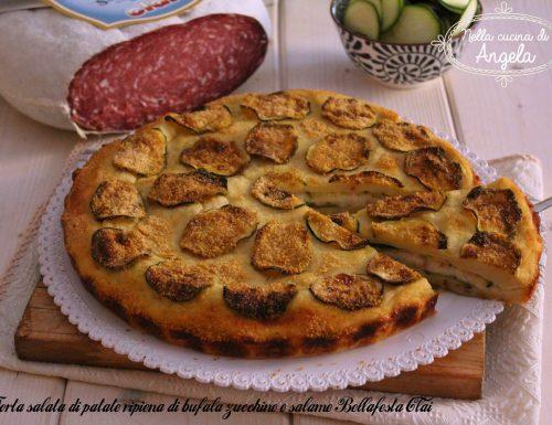 Torta salata di patate ripiena di bufala zucchine e salame Bellafesta Clai