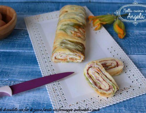 Rotolo di omelette con fior di zucca farcito con formaggio spalmabile e speck