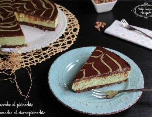 Cheesecake al pistacchio con ganache al ciocco-pistacchio