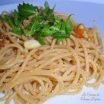 Spaghetti alla bottarga rucola e mandorle