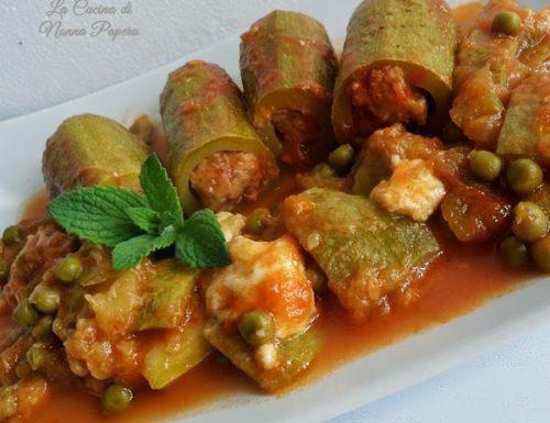 Zucchine ripiene di carne ricetta con piselli