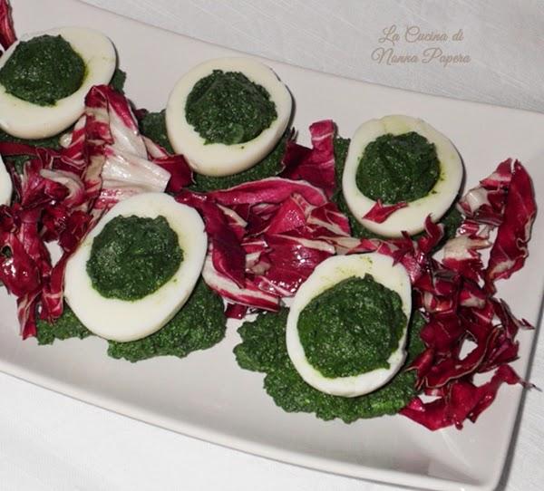 Uova sode farcite di spinaci for Cucinare uova sode