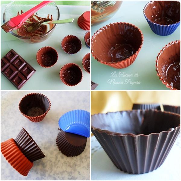 Cestini al cioccolato ripieni di gelato