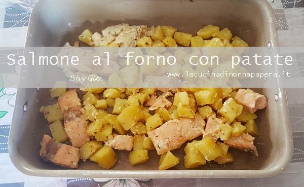 Salmone al forno con patate e rosmarino