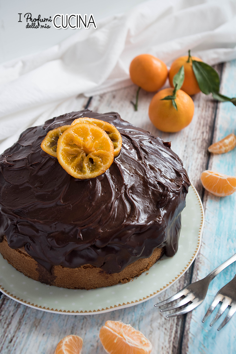 Torta ai clementini e ganache fondente