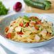 Spaghetti con merluzzo e zucchine