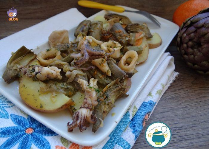 Insalata di carciofi, calamari e patate in salsa d'arance