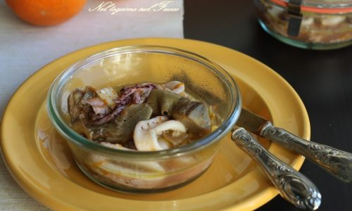 Calamari e carciofi all'arancia in vaso cottura