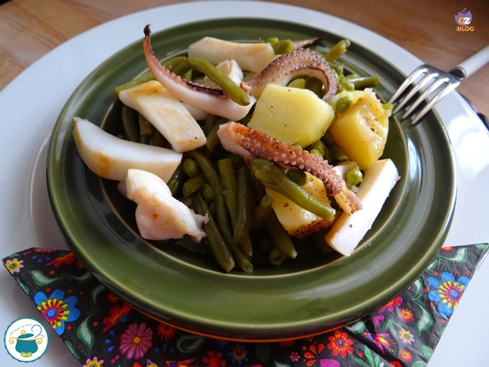 Insalata di seppie grigliate con verdure al vapore