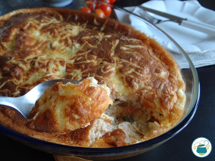 Clafoutis salato ai pomodorini, funghi e pancetta