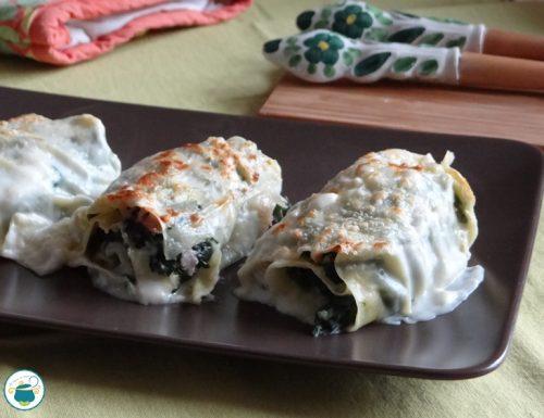 Fagottini di lasagne spinaci e prosciutto