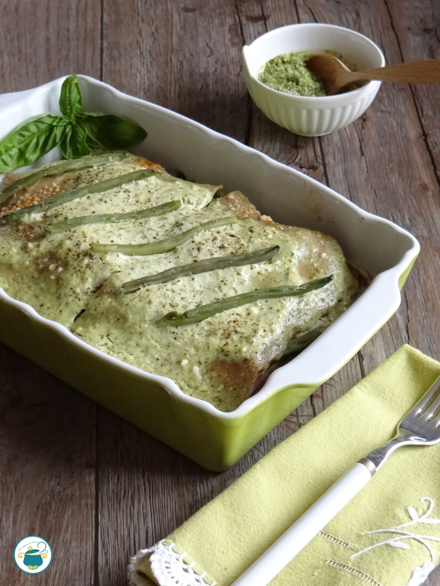 Lasagne senza besciamella al pesto e fagiolini