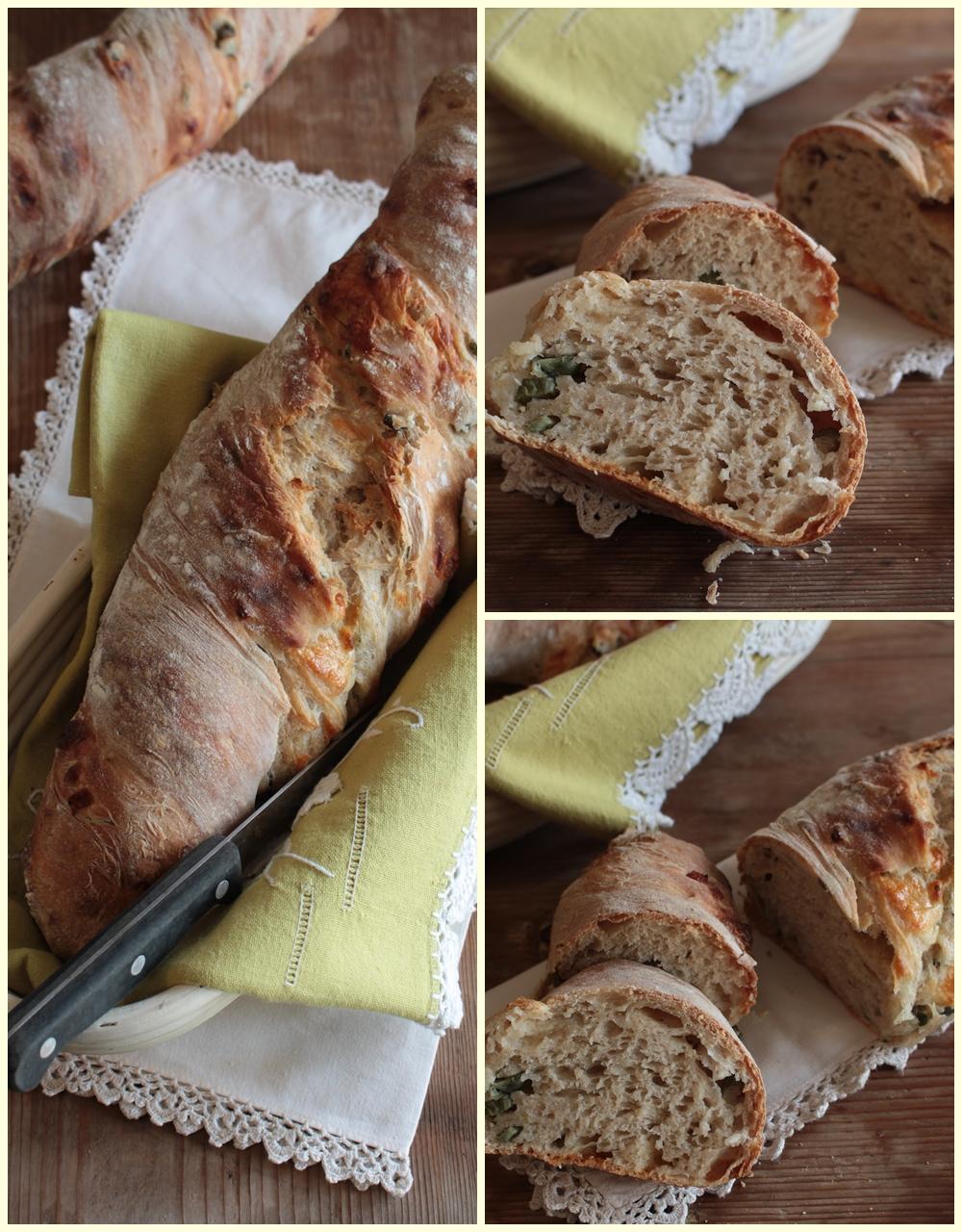 Pane con cetrioli e formaggio nell'impasto