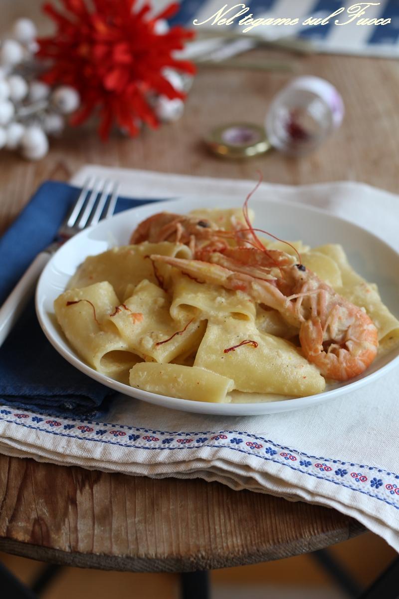 pasta+crema+scampi+zafferano
