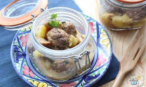 Polpette in vasocottura con funghi e patate