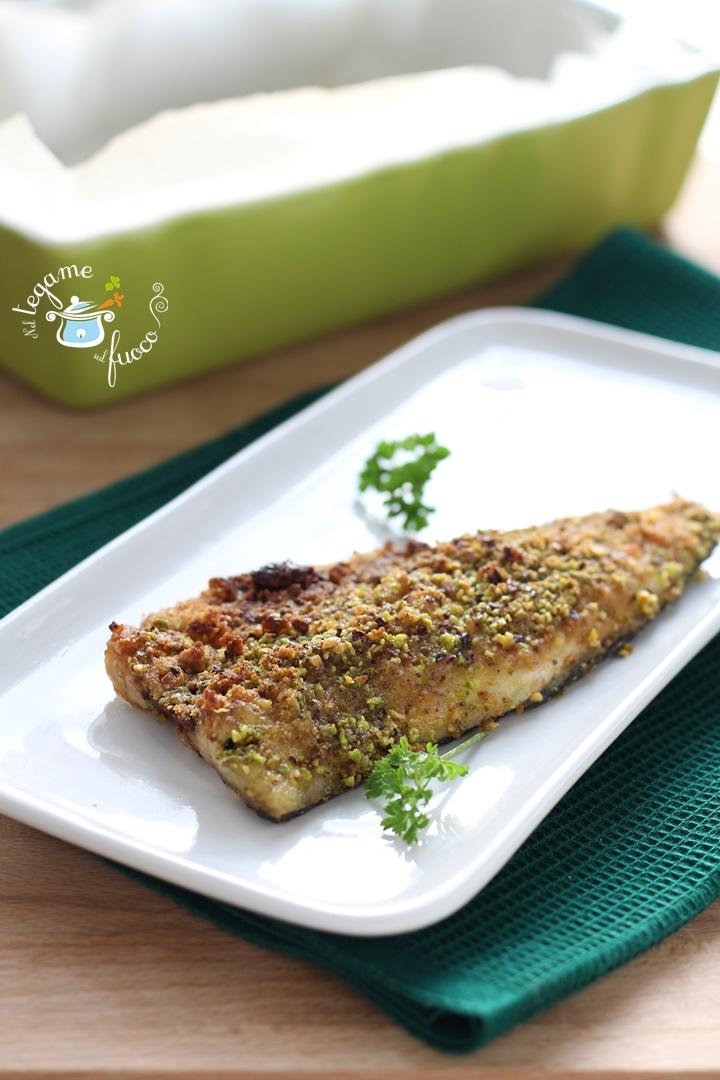 branzino gratinato al pistacchio