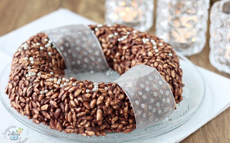 Corona di riso soffiato ai due cioccolati