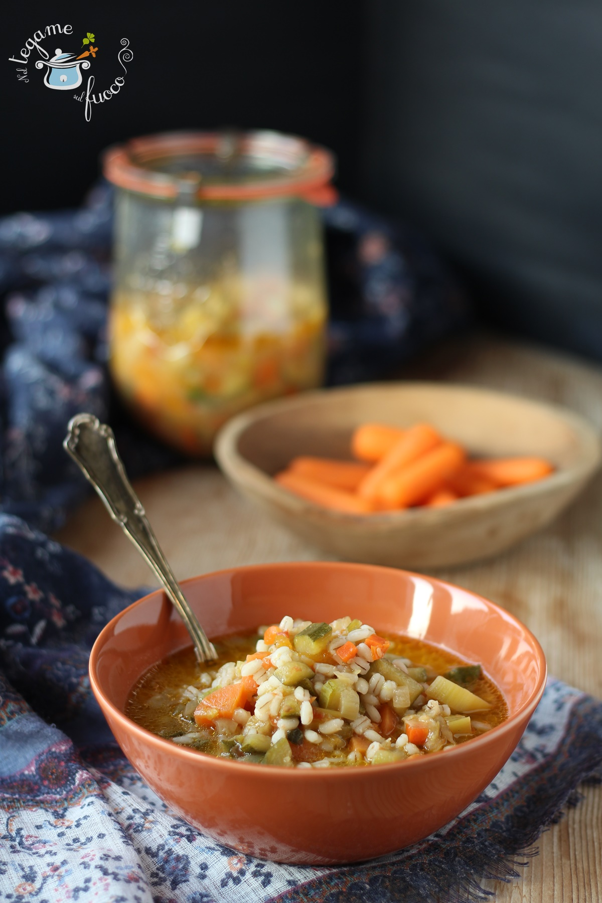 Minestrone in vasocottura con orzo - ricetta al microonde in vasetto