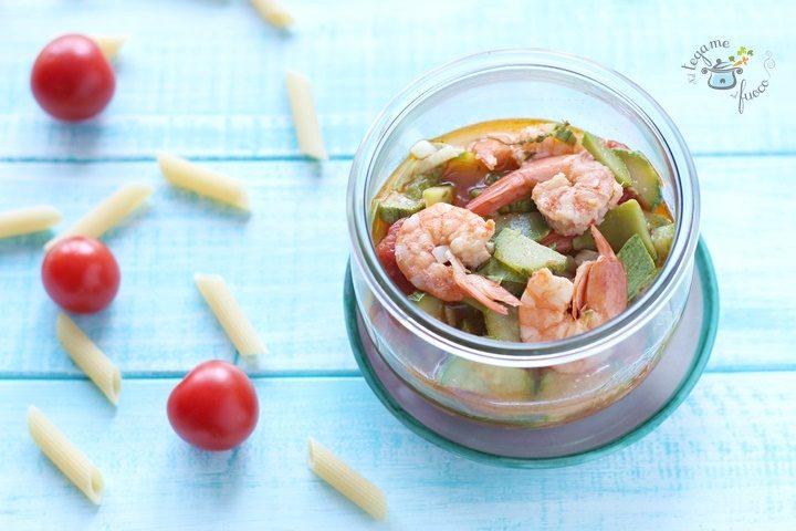 sugo di gamberi e zucchine cotto in vasetto