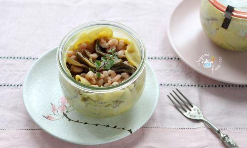 Lasagne con gamberi e carciofi in vasocottura