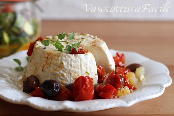 Ricotta in vasocottura con pomodorini e olive