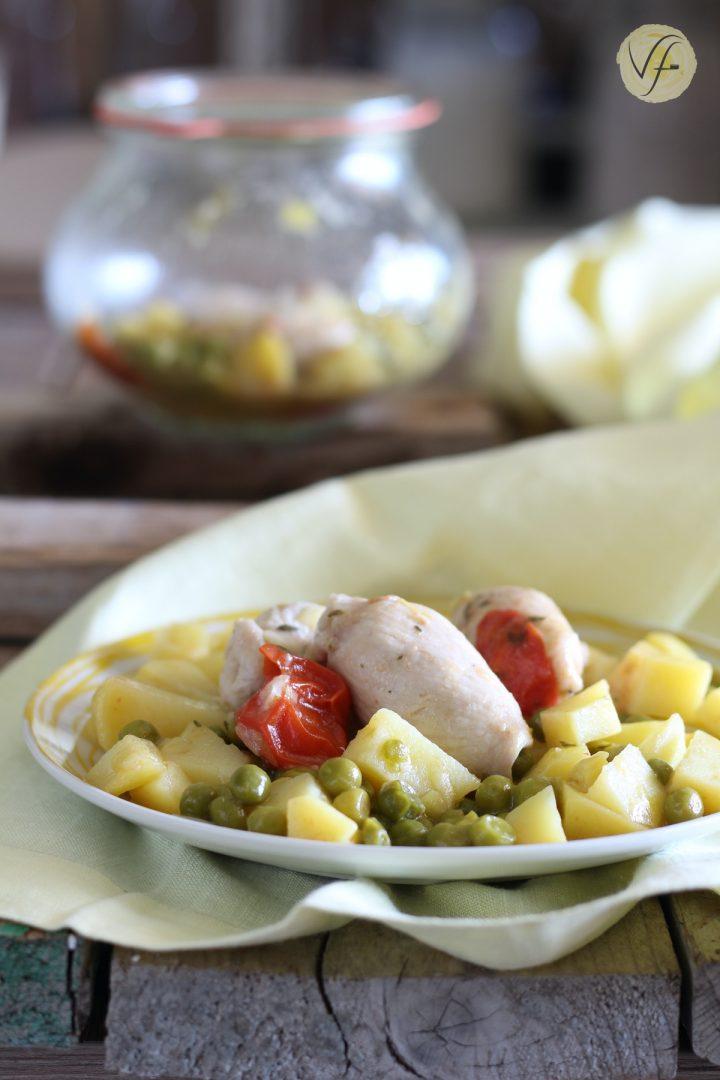involtini di pollo con patate e piselli surgelati in vasocottura al microonde