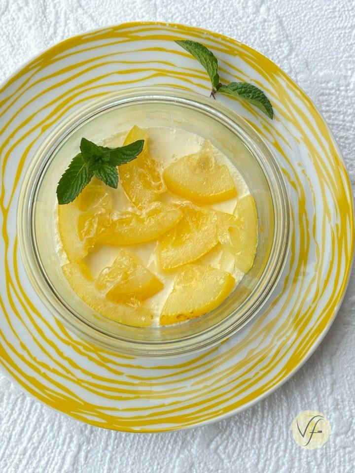 cheesecake al limone senza zucchero in vasocottura al microonde