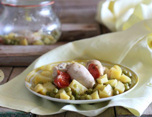 Involtini di pollo con patate e piselli in vasocottura