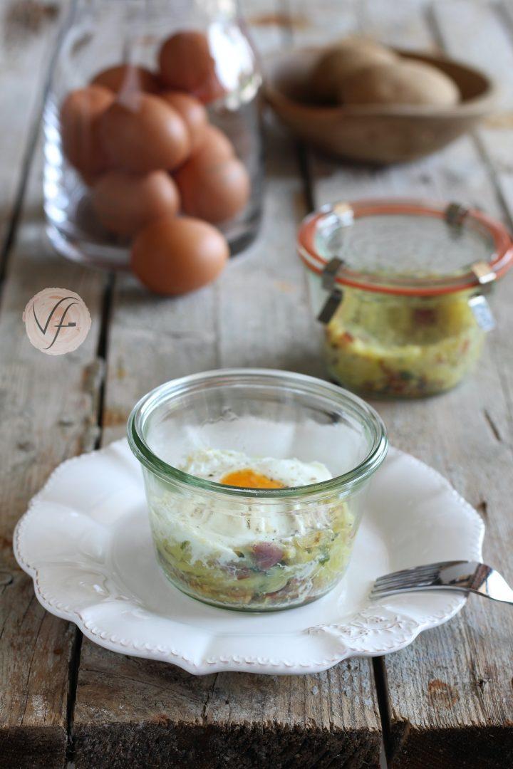 tortino nuvola di patate con uova in vasocottura