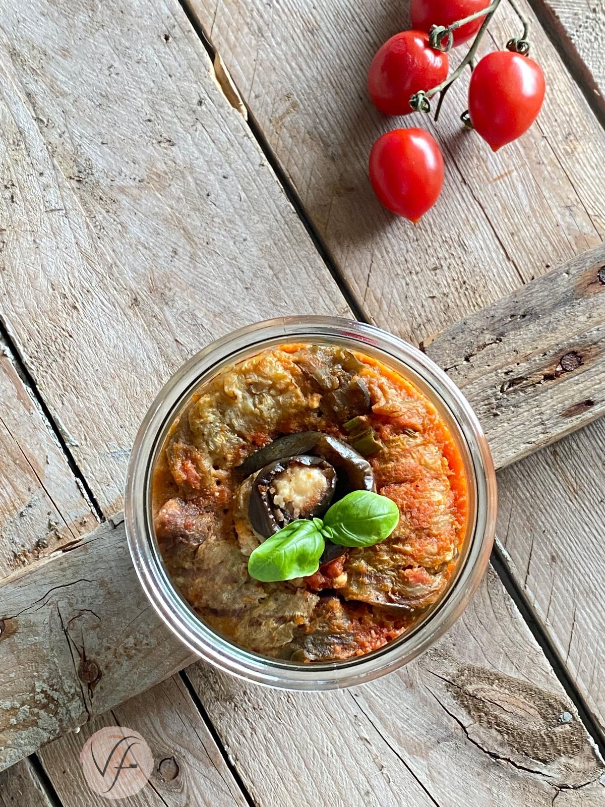 involtini di melanzane farcite con feta e olive in vasocottura al microonde