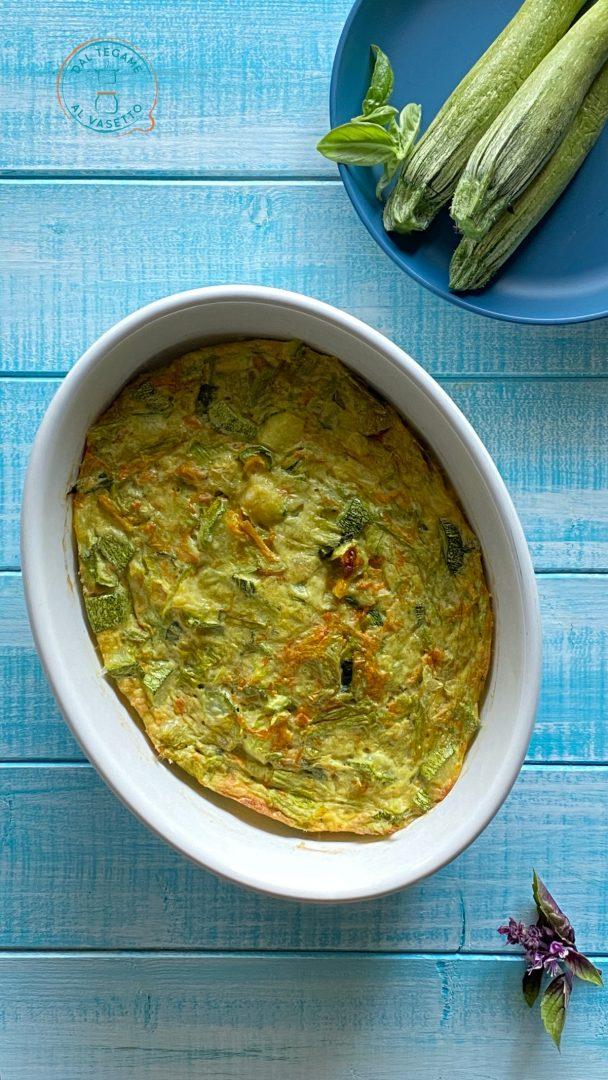 frittata di zucchine e fiori di zucca al microonde